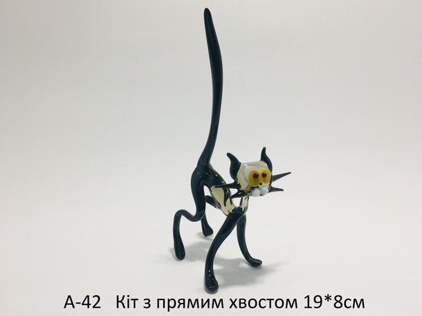 Cat from glass with a straight tail