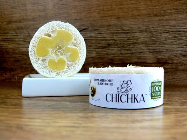 Natural handmade soap CAMOMILE with loofah