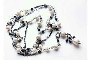 Silver pearl and tourmaline necklace