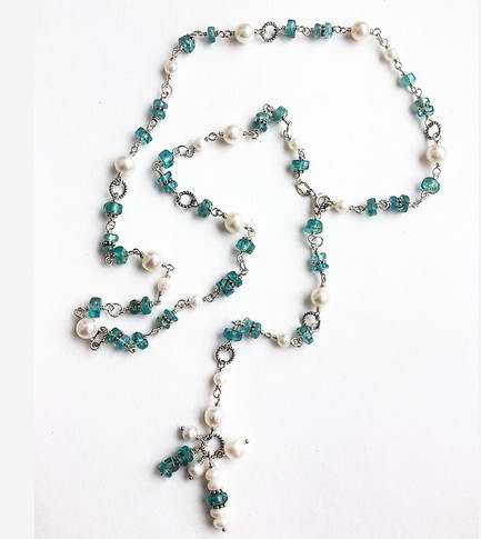 Silver pearl and apatite necklace