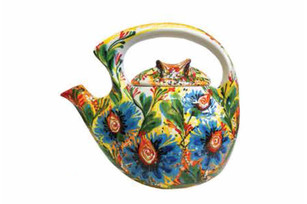 Ceramic teapot decor: Flora