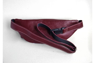 Fanny pack - Genuine leather belt bag (burgundy with flowers)