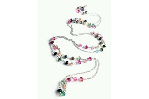Silver chain with pearls and tourmalines