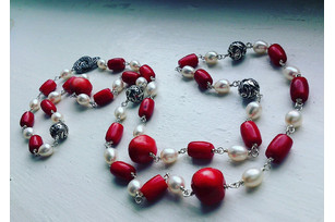 Darya Silver Pearl and Coral Necklace