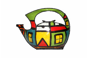 Ceramic teapot, decor: Houses